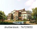3d render house | Shutterstock . vector #76725853