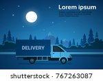 cargo truck van on road at...   Shutterstock .eps vector #767263087