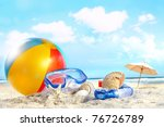 fun day at the beach with...   Shutterstock . vector #76726789