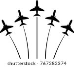 airplane flying formation  air... | Shutterstock .eps vector #767282374