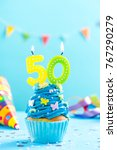 fiftieth 50th birthday cupcake... | Shutterstock . vector #767290279
