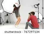 beautiful young model posing... | Shutterstock . vector #767297134