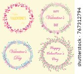 set of cute frames from flowers ... | Shutterstock .eps vector #767312794