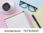 notebook pen cup of coffee and... | Shutterstock . vector #767313655