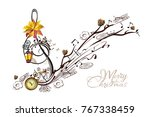 coffee music. abstract treble... | Shutterstock .eps vector #767338459