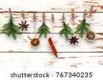 self made xmas decoration  with ... | Shutterstock . vector #767340235