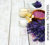 spa products with lavender... | Shutterstock . vector #767341531