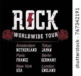 rock worldwide tour vector   Shutterstock .eps vector #767342191