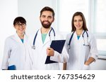 group of doctors in clinic at... | Shutterstock . vector #767354629