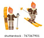 active rest in winter. the boy... | Shutterstock .eps vector #767367901