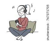 cute woman with headphones... | Shutterstock .eps vector #767371705