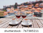 two glasses of madeira wine and ... | Shutterstock . vector #767385211