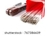 white covered arc welding... | Shutterstock . vector #767386639