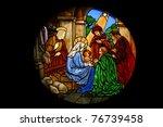 Small photo of Catholic stained glass at Santa Cruz church, Bangkok, Thailand