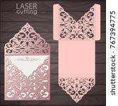 laser cut wedding invitation... | Shutterstock .eps vector #767394775
