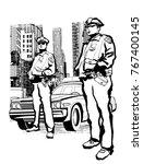 policemen in the 5th avenue in... | Shutterstock .eps vector #767400145