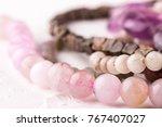 rose quartz stone beads on... | Shutterstock . vector #767407027
