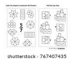 two visual math puzzles and...   Shutterstock .eps vector #767407435