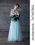 beautiful cute girl in long...   Shutterstock . vector #767407801