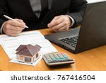 bank officer calculate interest ... | Shutterstock . vector #767416504