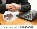 broker and client are... | Shutterstock . vector #767416507