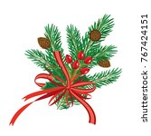 christmas pine branches with... | Shutterstock .eps vector #767424151