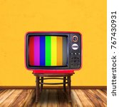 old television on wood chair in ... | Shutterstock . vector #767430931