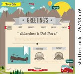 Website template with cartoon styled vintage elements - stock vector