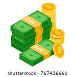 big pile of cash money and some ... | Shutterstock .eps vector #767436661