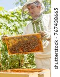closeup portrait of beekeeper...   Shutterstock . vector #767438665