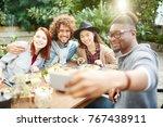 young affectionate friends... | Shutterstock . vector #767438911