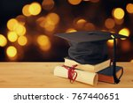 image of graduation black hat... | Shutterstock . vector #767440651