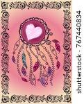 feminine pink card. ethnic... | Shutterstock .eps vector #767440834