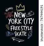 skateboarding t shirt design. ... | Shutterstock .eps vector #767444191