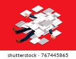 overwork concept. accountant... | Shutterstock .eps vector #767445865