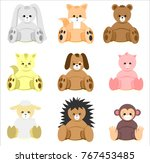 colorful baby shower animal... | Shutterstock .eps vector #767453485