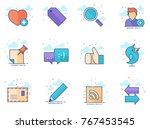 social network icon series in... | Shutterstock .eps vector #767453545