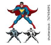 cartoon superhero standing with ... | Shutterstock .eps vector #767454091