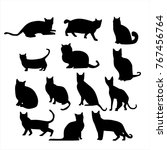 silhouette of cats in different ... | Shutterstock .eps vector #767456764