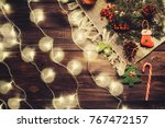 christmas holiday flat lay view ... | Shutterstock . vector #767472157