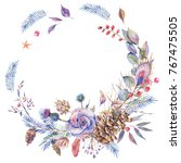 watercolor winter natural... | Shutterstock . vector #767475505