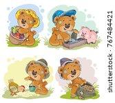 Brown Teddy Bear Farmer  Vecto...