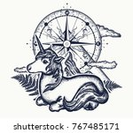 unicorn  compass and mountains... | Shutterstock .eps vector #767485171