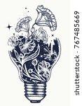 light bulb tattoo and art... | Shutterstock .eps vector #767485669