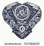 technically mechanical heart... | Shutterstock .eps vector #767486029