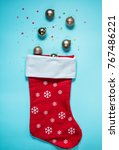ice cream cone with christmas... | Shutterstock . vector #767486221