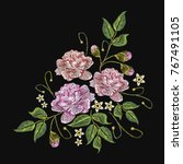 embroidery peonies flowers... | Shutterstock .eps vector #767491105
