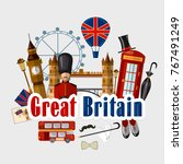 travel to great britain.... | Shutterstock .eps vector #767491249