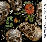 embroidery skull and roses... | Shutterstock .eps vector #767491525