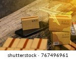 packing boxes small goods and... | Shutterstock . vector #767496961